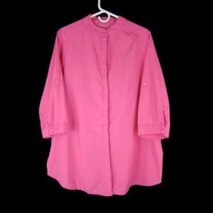 Woman Within Oversized Pink Buttoned Tunic - L